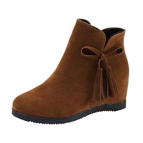Botines cuña tacón de Plataforma para Mujer Otoño Invierno 2018 PAOLIAN Botas con Flecos Zapatos de