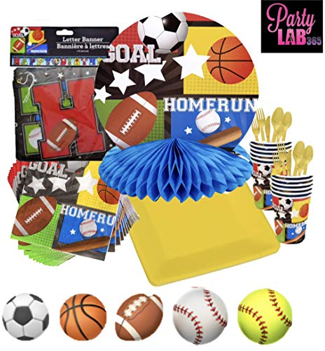 Sports Themed Party Decorations for 32 Guests: Plates, Napkins, Table Cover, Cups, Utensil, Decorations AND