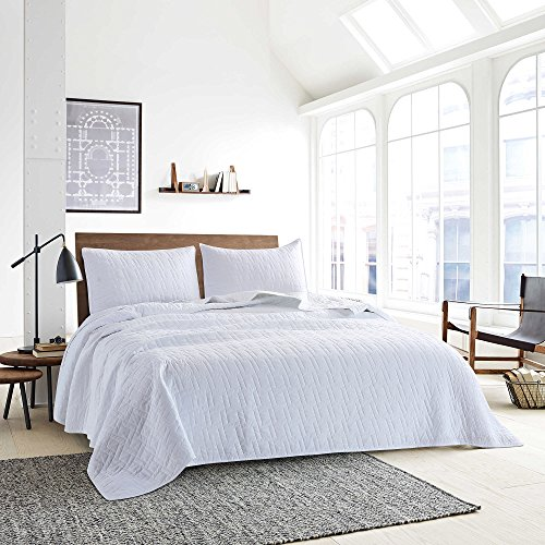 Style Homes 3-Piece Luxury Quilt Set With Sham(s), Ultra Soft Microfiber Bedspread and Coverlet with Brick Stitch Design, Oversized, Full/Queen, Bright White - Stitch Coverlet Set