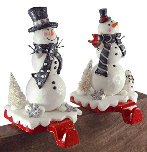 - Gerson Festive Winter Snowmen Stocking Holders - Set of 2
