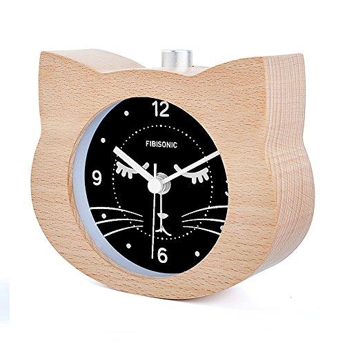 Fibisonic-Wood Table Alarm Clock Quite Yellow Cat Analog Snooze Cute Animal Night Light Desk Clock Small Quartz Clock with Night light