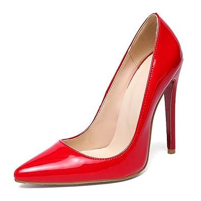 TIYUXUAN Stiletto High HeelsDamenschuhe PumpsLack PumpsHochzeitsschuhe Damen Rot 24cm