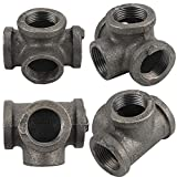 Gimiton 4 Pack 4 Way Pipe Fitting Malleable Iron DN20 3/4 Black Malleable Cast Iron Pipe Tee fitting Industrial Steel Side Outlet Elbow 3-Way Fitting (DN20 3/4)