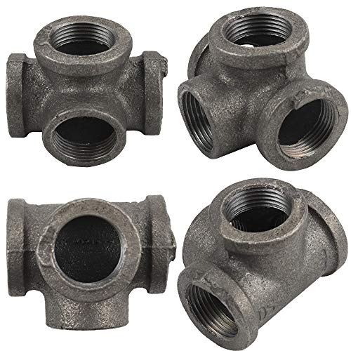 Gimiton 4 Pack 4 Way Pipe Fitting Malleable Iron DN20 3/4 Black Malleable Cast Iron Pipe Tee Fitting Industrial Steel Side Outlet Elbow 4-Way Fitting (DN20 3/4)
