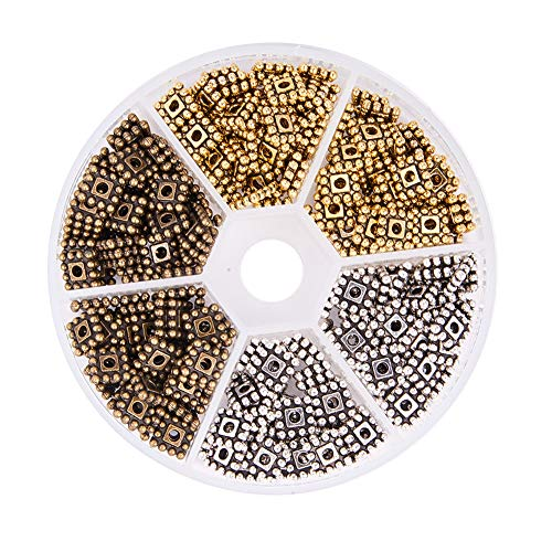 PH PandaHall 300pcs 3 Colors Tibetan Alloy Square Flower Spacer Beads Metal Spacers for Bracelet Necklace Jewelry Making (7x7mm, Hole: 2mm) ()