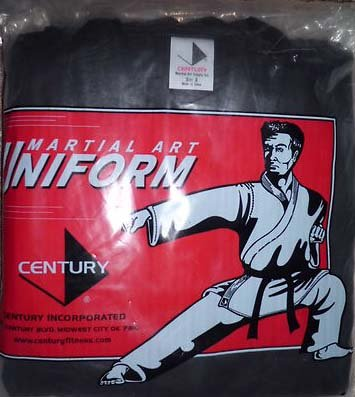 Century Martial Arts Karate Uniform with Belt Medium Weight Black Cotton  Elastic Waistband & Drawstring Size 000-7 for Adult & Children (Size 000