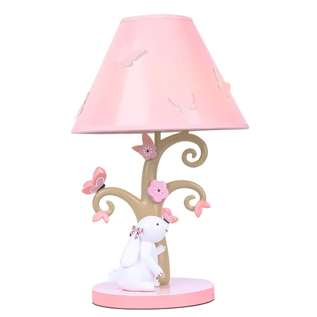 Pink Decorative Table Lamp, Girl Cartoon Bedroom Bedside Table Lamp, Cute Flower and Bunny Lamp Body with Pink Bright Lampshade Design, High 41CM