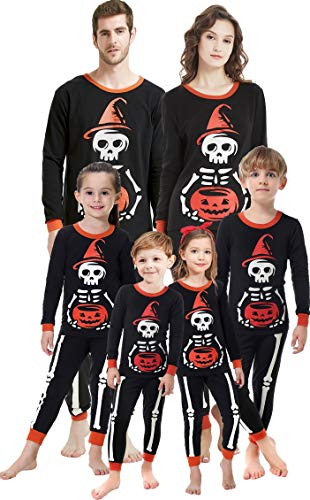 Halloween Costumes for Women/Men / Kids Matching Family Pajamas Pumpkins and Skull Pattern Sleepwear Set Size 5 -