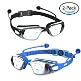 YIZI Swimming Goggles Leaking Anti Fog UV Protection Triathlon for Adult Men Women Youth Kids Child, boys girls snowboarding goggles 2 pcs with Ear Plugs Nose Clips