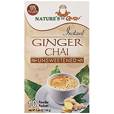 Nature's Guru Chai Unsweetened Drink Mix, Ginger, 10 Count (Pack of 8)