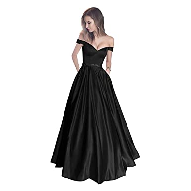 fd64e6bc0c GFDress Women Beautiful Off The Shoulder Beaded Satin Evening Prom Dress  with Pocket a Line Long