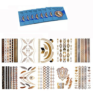 Nice 10 Style Body Art Chain Gold Tattoo Temporary Metallic Tattoo Jewelry Temporary Tattoo Stickers for cheap