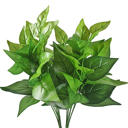 Gtidea 2pcs Artificial Silk Grass Leaves Plants Bridal Home Garden Office Floor Restaurant Wedding Decoration Green