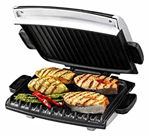 George Foreman GRP99 Next Generation Grill with Nonstick Removable Plates, Silver/Black