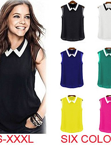 skt-swimwear haocare Casual Candy Farbe Umlegekragen Fashion ärmellos Frauen Chiffon Blusen Shirts