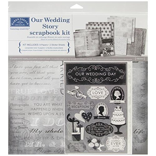 12 Scrapbooking Stickers - Karen Foster Design Themed Paper and Stickers Scrapbook Kit, Our Wedding Story