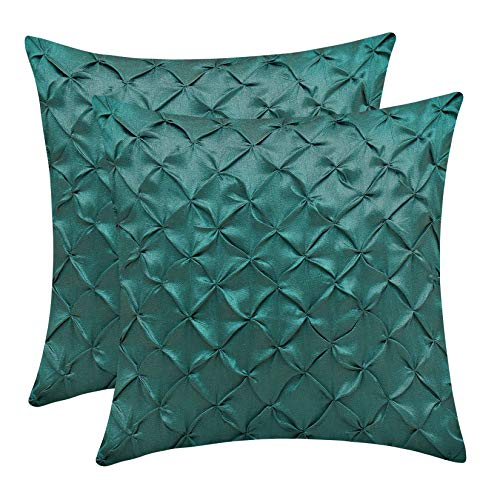 (The White Petals Forest Green Euro Sham Covers (Faux Silk, Pinch Pleat, 26x26 inch, Pack of 2))