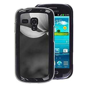 A-type Arte & diseño plástico duro Fundas Cover Cubre Hard Case Cover para Samsung Galaxy S3 MINI 8190 (NOT S3) (White Snow Flower Spring Grey)