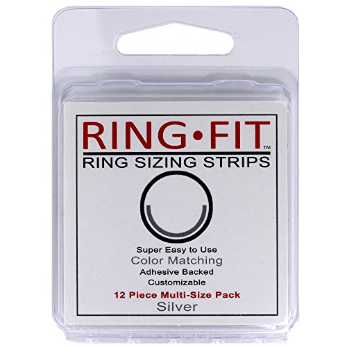 Ring-Fit Ring Sizing Strips - Silver - 12 Ring Size Adjusters for Wide Rings