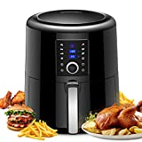 OMORC Air Fryer XL, 5.8QT Airfryer Oven Oilless Cooker with Hot Air Circulation Tech for Fast Healthier Food, 7 Cooking Presets and Heat Preservation Function - LCD Touch Screen and Knob Control (Recipe Book included, 5.5L Larger Capacity)