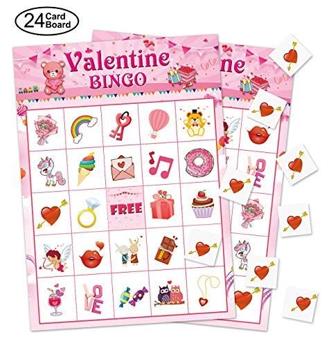32 Players Valentines Day Bingo Game Cards for Kids Class Party Supplies Activity