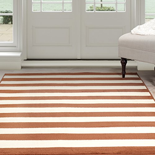 Lavish Home Dark Amber Stripe Area Rug, 8' by 10', Amber/Tan - Amber Rug Rug