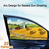 LIFONDER Car Sun Shade, Car Front Side Rear Window Shade Magnetic Protect Kids and Pets from Sun Glare and Heat, Set of 2
