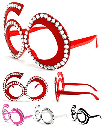 [2 Pair Sixty 60's Novelty Birthday Party Glasses - Costume Dressup Sunglasses for Men or Women] (60s Dress Up Costumes)