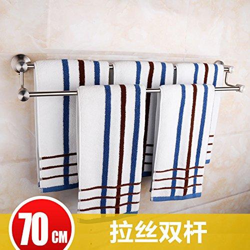 (Hlluya Bathroom Accessory Set Metal 4 Brushed Stainless Steel Paper Towel Rack Towel Rack Single Lever Double bar,70CM)