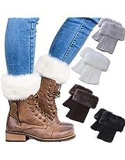 Women Faux Fur trim Boot Cuffs Socks Crochet Knitting Short Leg Warmers 4 Pack