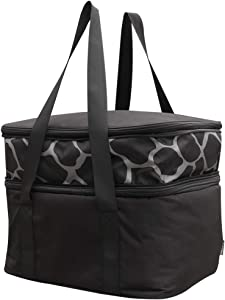 Insulated Food Carrier Double Casserole Lasagna Lugger for Potluck Parties/Picnic/Beach Zipper Top Lid Thermal Bag Tote to Keep Food Hot or Cold Warmer Expandable Carry Up to 3 Casserole Dishes