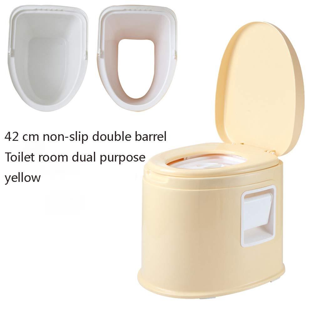 Tragbares WC Ältere  Herrenchen Schwangere Frauen Zimmer Abnehmbare Einfache Kunststoff-WC-Sitz-WC,Gelb