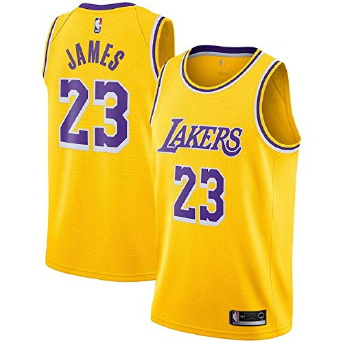 Majestic Athletic Yellow Men's #23 Lebron James Los Angeles Lakers Swingman Jersey (L)