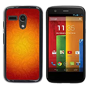 Be Good Phone Accessory // Dura Cáscara cubierta Protectora Caso Carcasa Funda de Protección para Motorola Moto G 1 1ST Gen I X1032 // Gold Floral Pattern Red Abstract Warm