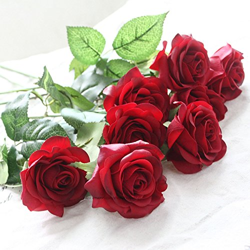 10pcs Head Real Touch Latex Rose Flowers For wedding Bouquet Decoration 8 Colors (KC305 Red Rose)