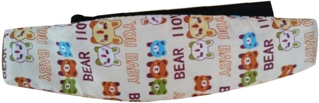 Lovely Cartoon Head Support Stroller Car Seat Fastening Belt Sleep Safety Strap for Kids 1pc Blue Elephant