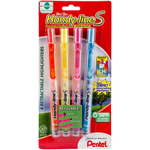 Pentel Handy-line S Retractable Highlighter, Chisel Tip, Assorted Ink Colors, 4/ Pack (SXS15BP4M) ()