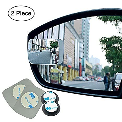 Ampper Upgrade 2 Blind Spot Mirrors Pack of 4 360 Degree Rotate Sway Adjustabe HD Glass Convex Wide Angle Rear View Car SUV Universal Fit Stick-On Lens