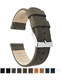 BARTON Quick Release Top Grain Leather Watch Strap - Choice of Colors & Widths (18mm, 20mm or 22mm) - Espresso (Dark Brown) 20mm Watch Band