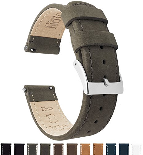 BARTON Quick Release Top Grain Leather Watch Band Strap - Choose Color & Width (18mm, 20mm or 22mm) - Espresso (Dark Brown) 18mm