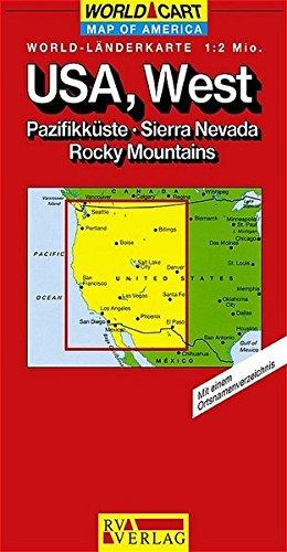RV World-Länderkarte 1:2 Mio. USA, West - Pazifikküste, Sierra Nevada, Rocky Mountains