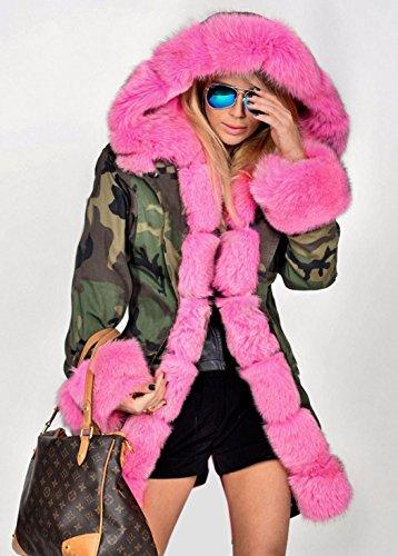 con Invierno aceshin Largo Sintética Parka Pelo Rosa Abrigo Piel Acolchado Capucha Mujer T6Z6tv