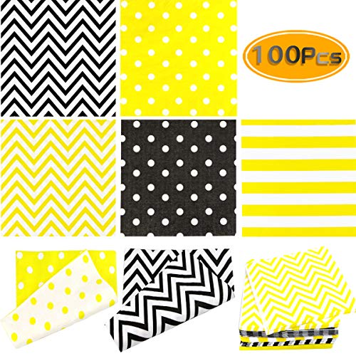 UPlama 100PCS Disposable Paper Party Napkins 2-Ply 5 Assorted Designs Striped Chevron Polka Dot Yellow Black Cocktail Napkins For Birthday,Graduation,Wedding, Holiday Celebrations (6.5