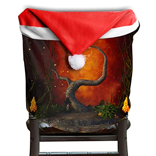 EDYE Dragonfly and Crossbones Mystery Halloween Christmas Xmas Themed Dinning Seat Chair Cap Hat Covers Ornaments for Backers Slipcovers Wraps Coverings Decorations Protector Set