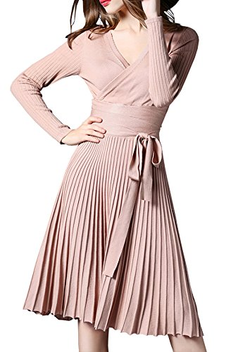 R.Vivimos Women Autumn Long Sleeve V Neck Elegant Knitted Slim Knee-Length A-Line Sweater Dress Beige One Size - Ribbed Cotton A-line Skirt