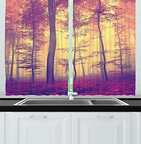 Lake House Decor Kitchen Curtains by Ambesonne, Peaceful Fantasy Mist Fog Fall Forest with Sun Rays Vintage Photo, Window Drapes 2 Panels Set for Kitchen Cafe, 55W X 39L Inches, Red Light Yellow