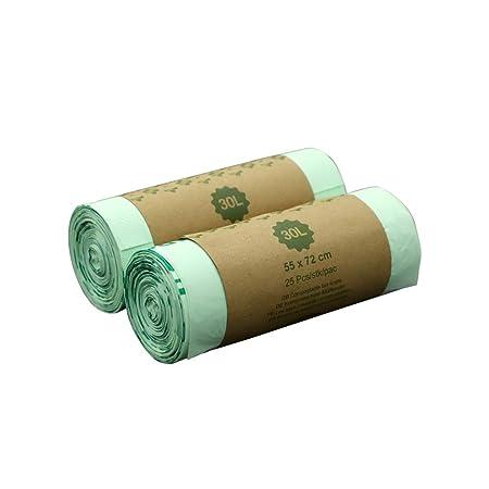 Bolsa de basura biodegradable 100 % IM ECOGREEN, 30 litros, 50 unidades, extragruesa, biodegradable y compostable, con certificado EN 13432