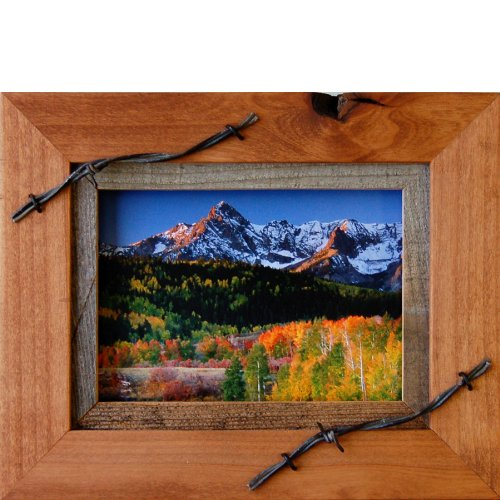 My Barnwood Frames – Sagebrush Series Western Wood Picture Frame with Barbed Wire Accents (5×7 Inch) For Sale