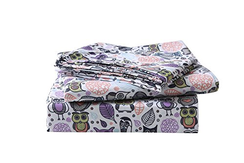 Omelas Kids Lovely Animal Owl Pattern & Orange Purple Floral Printed Bed Sheet Set Twin Size for Boys Children, Flat Sheet + Fitted Sheet + Pillowcase Bedding Set, Ultra Soft Microfiber by Omelas
