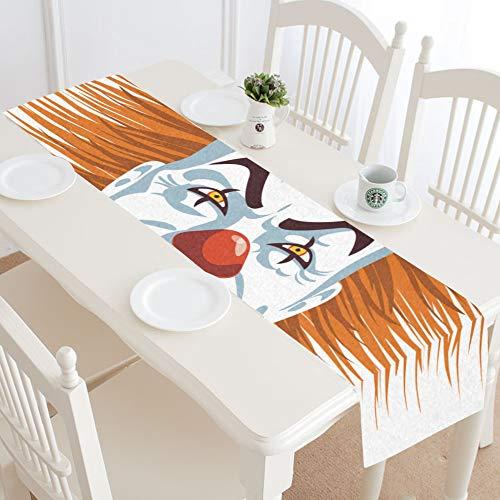 WIEDLKL Evil Killer Clown Table Runner Kitchen Dining Table Runner 16x72 Inch for Dinner Parties Events Decor -